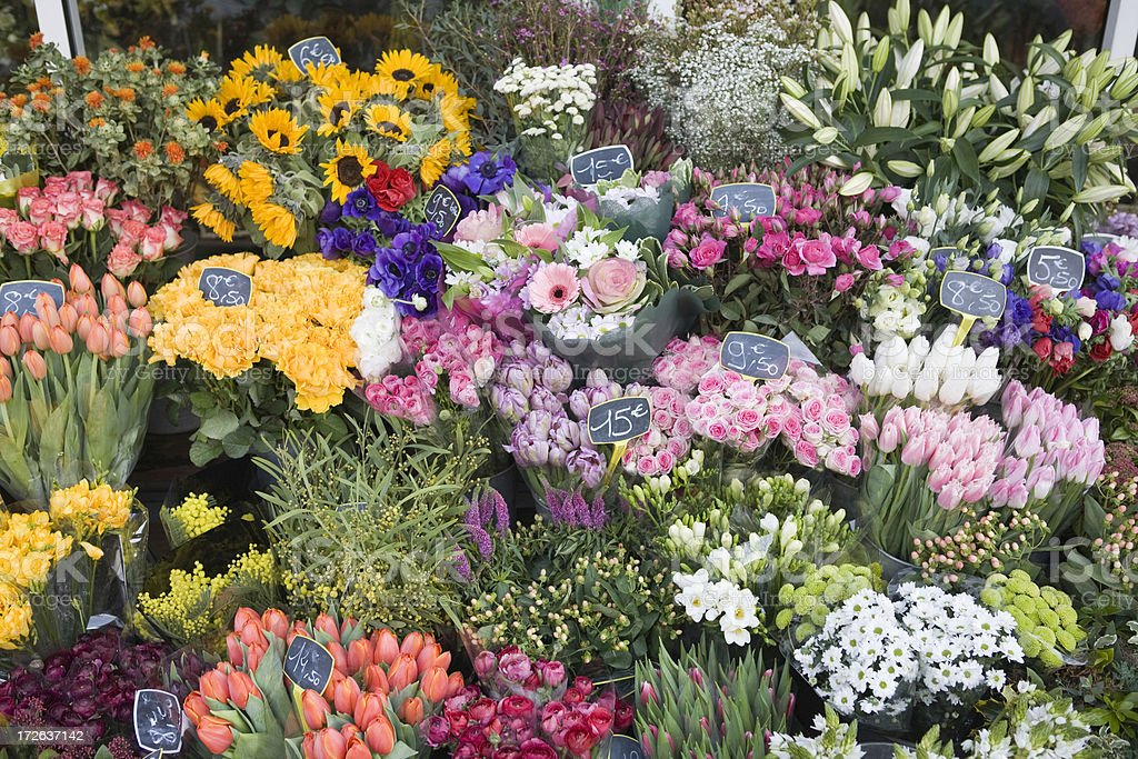 European flower shop and fresh bouquets stock photo