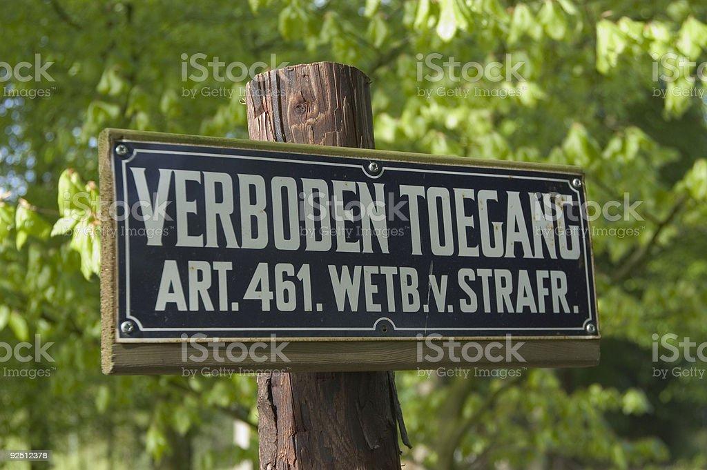 European Forbidden Entrance Sign royalty-free stock photo