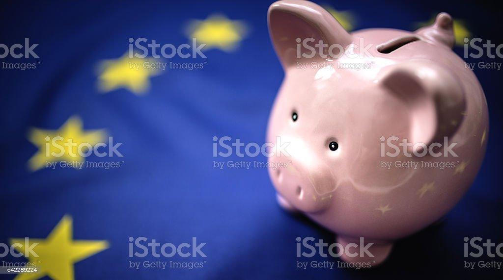 european home finances with piggy bank stock photo