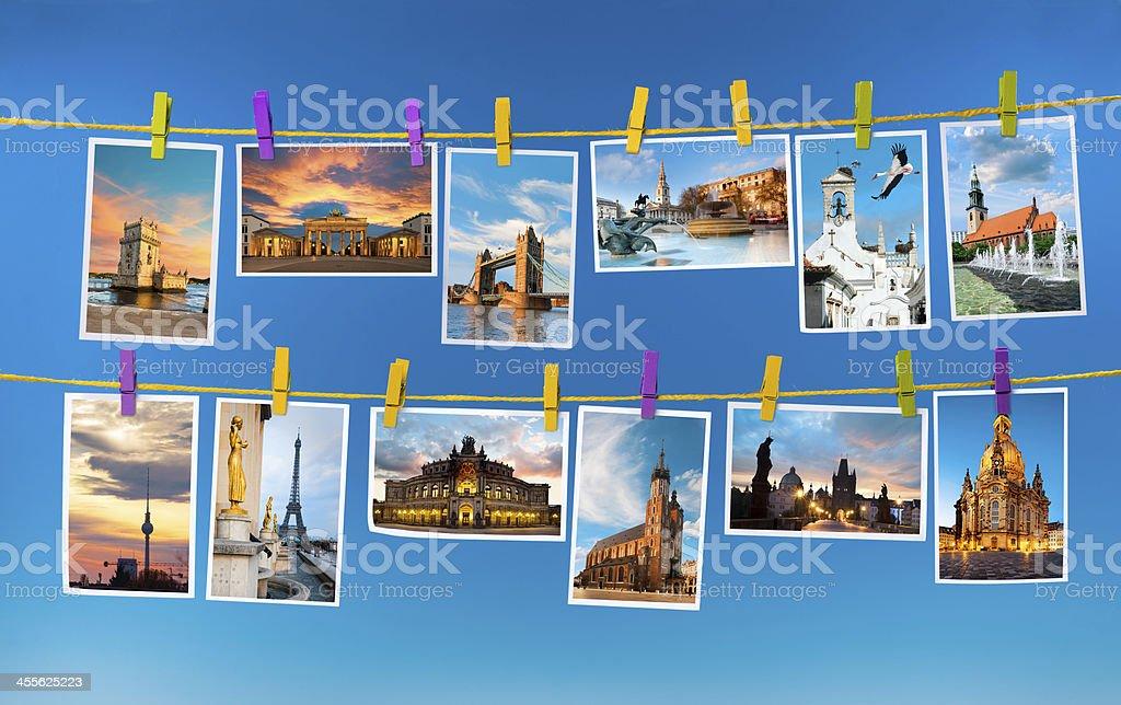 European landmarks, collage stock photo