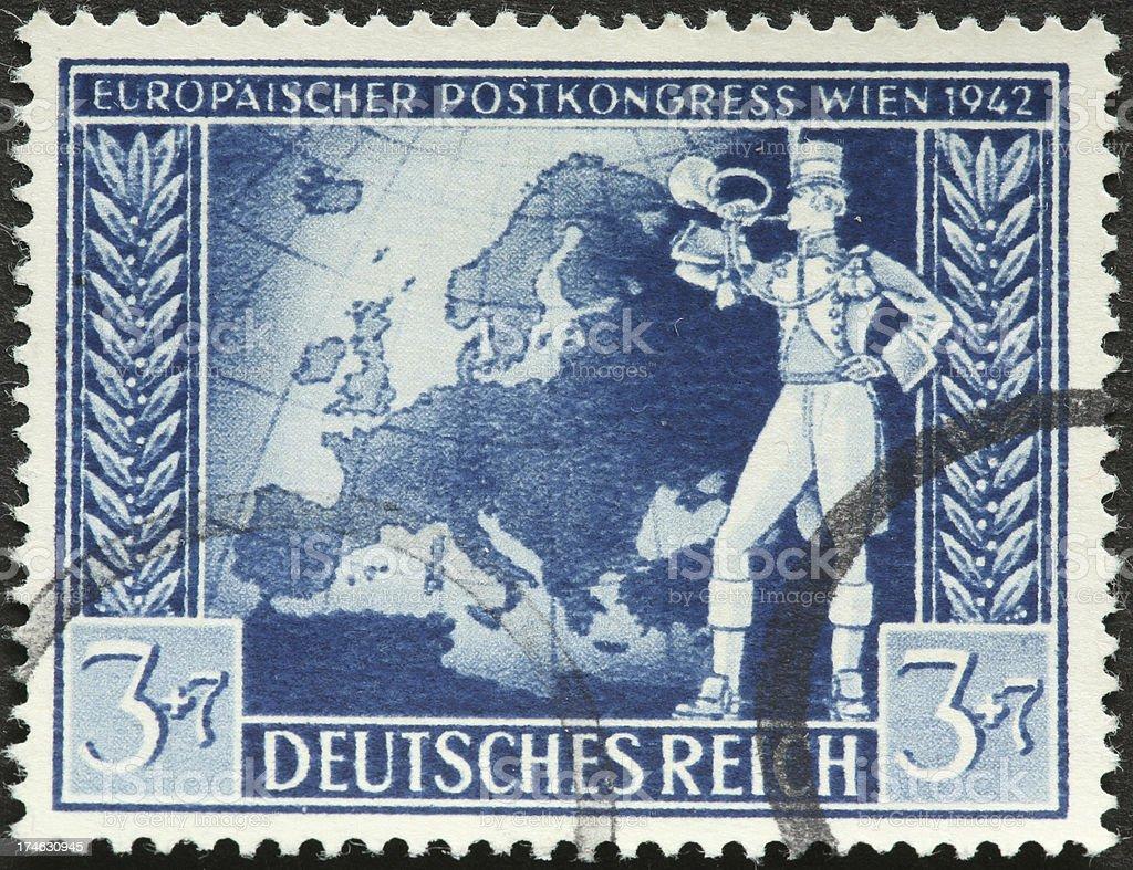 European map and bugler. royalty-free stock photo