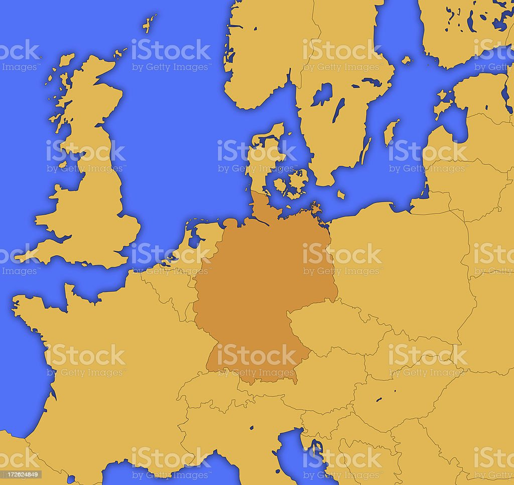 European Map (Germany highlighted) royalty-free stock photo