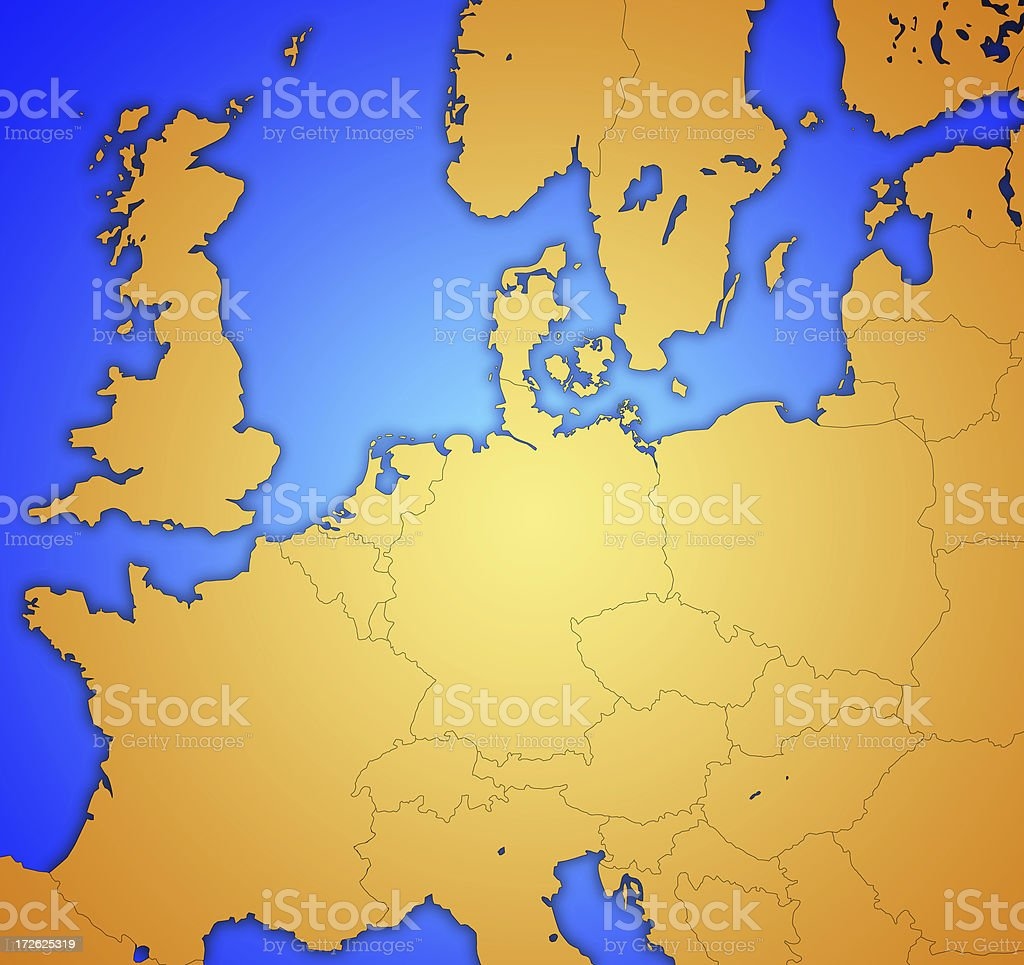 European Map with centered highlight royalty-free stock photo