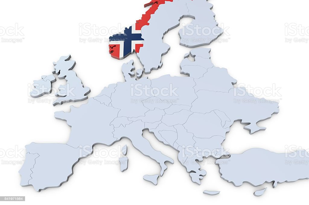 European map with Norway highlighted stock photo