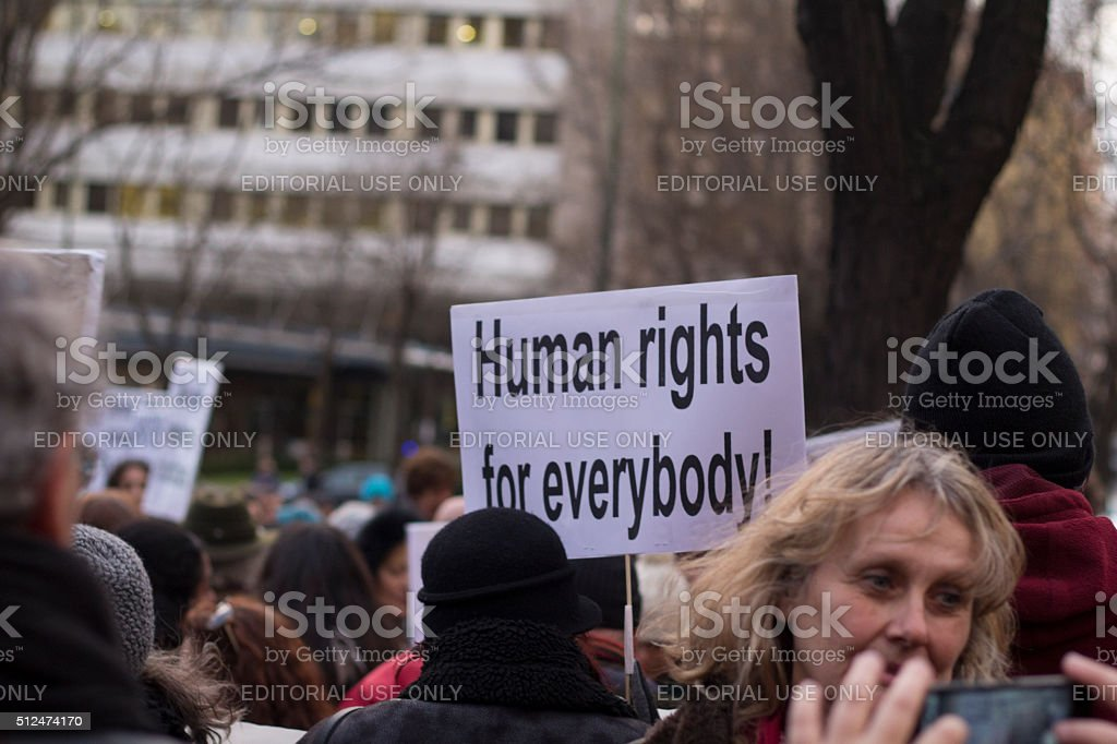 European march for refugee rights stock photo