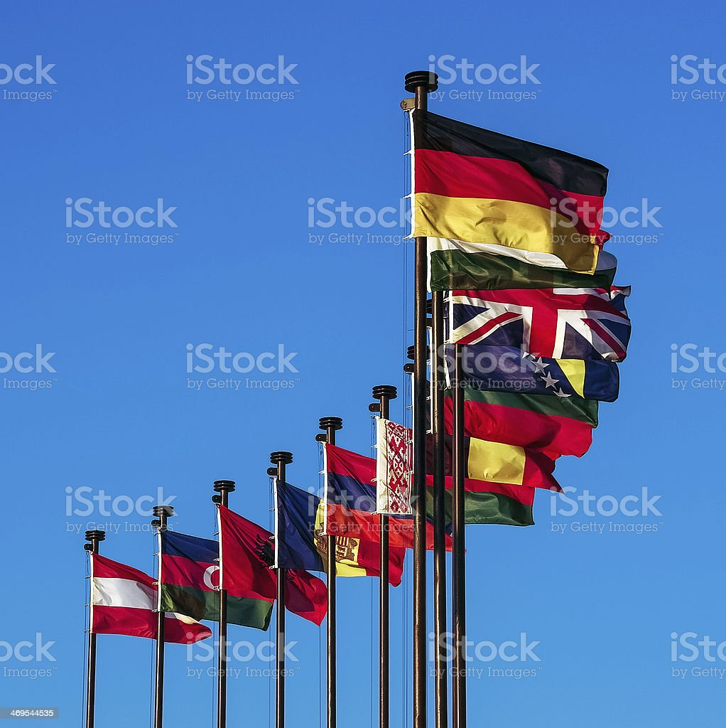 European national flags stock photo