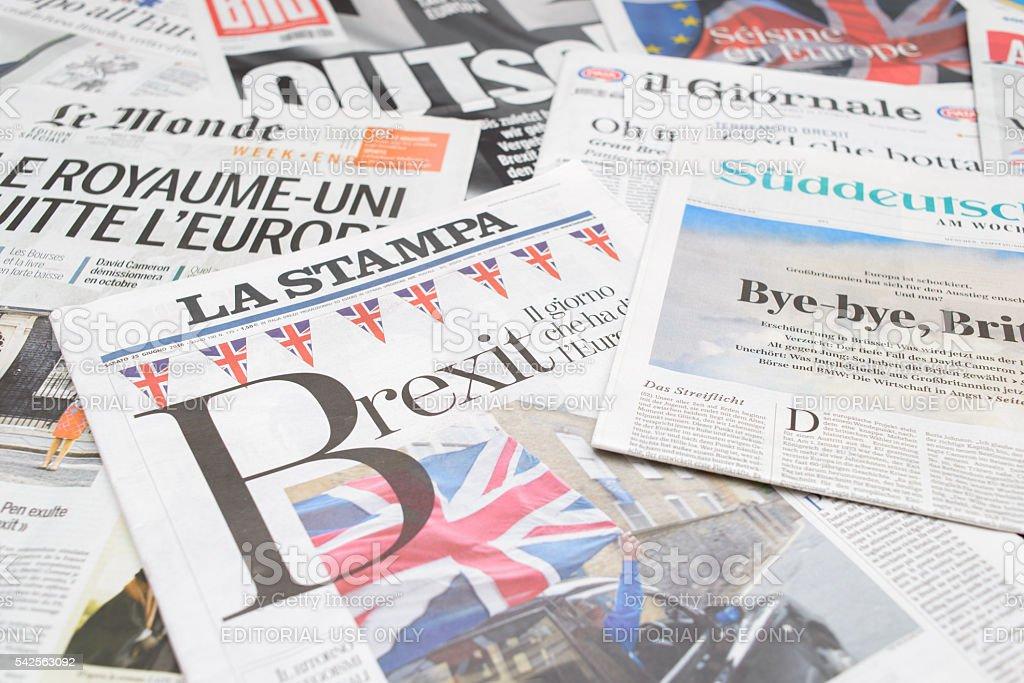 European newspapers react to Brexit vote stock photo