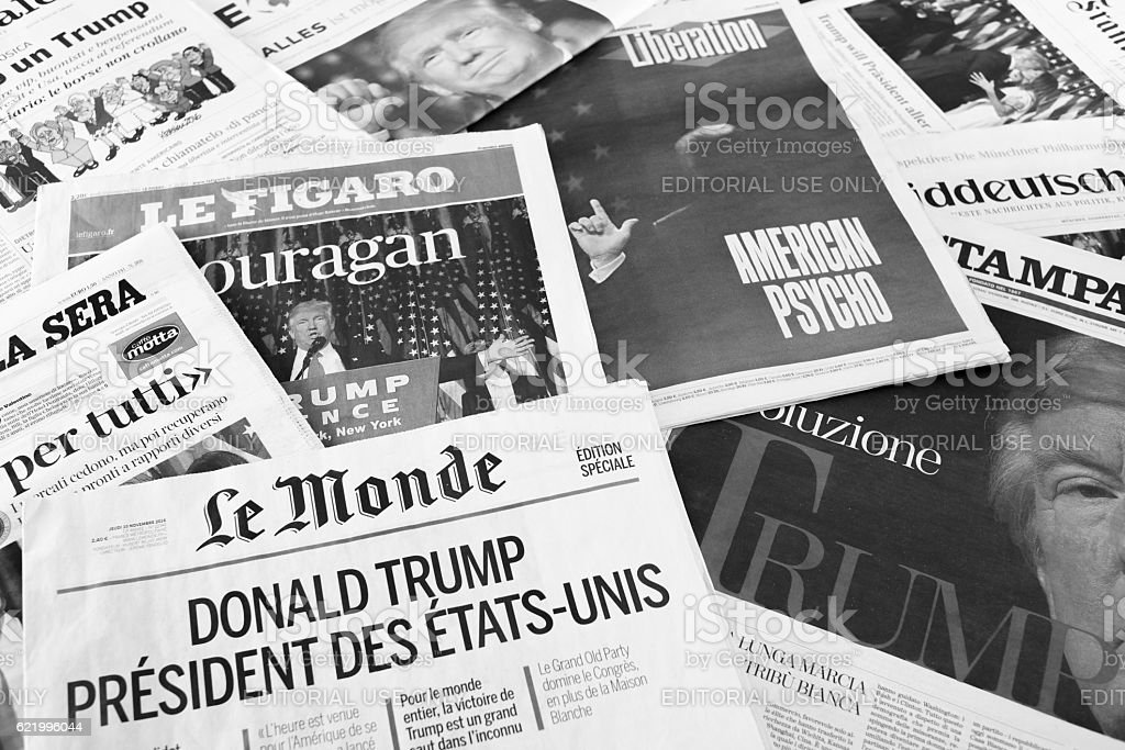 European Newspapers React to Donald Trump Election stock photo