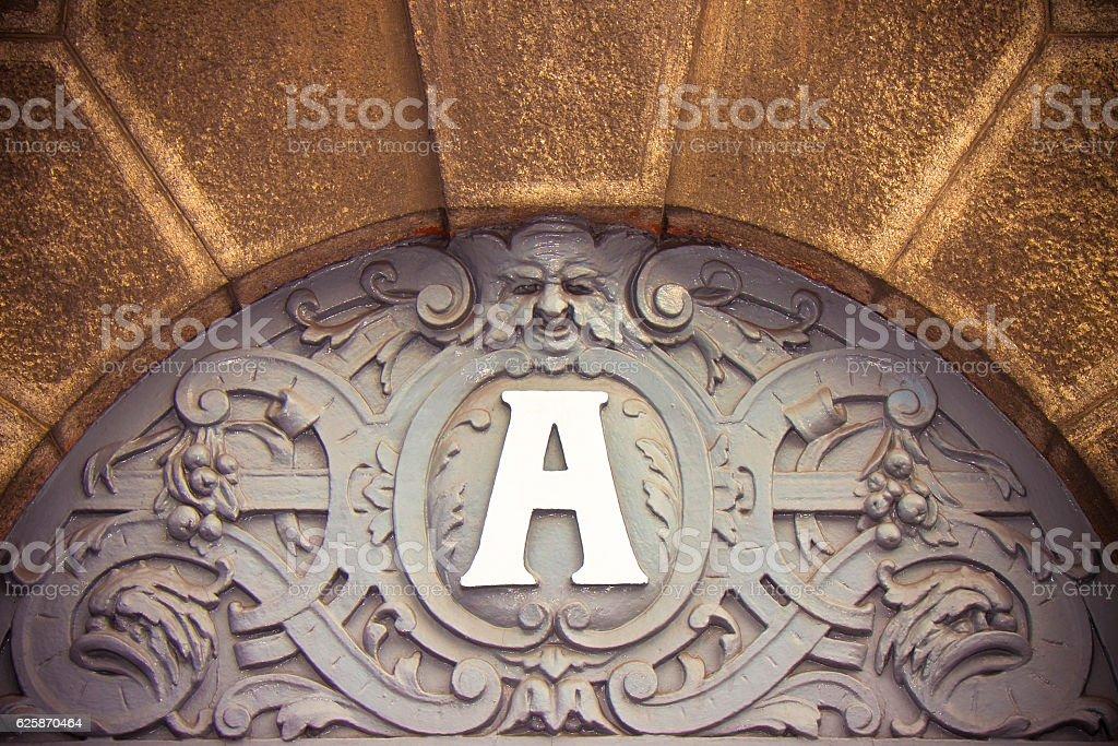 European nineteenth century building entrance stock photo