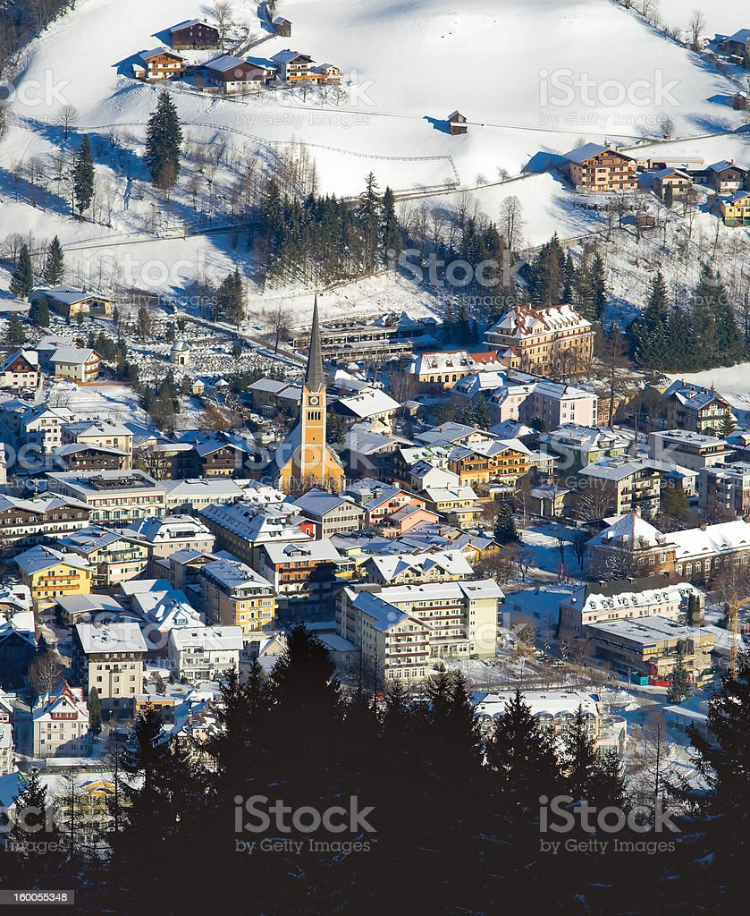 European old city near the mountain at winter stock photo