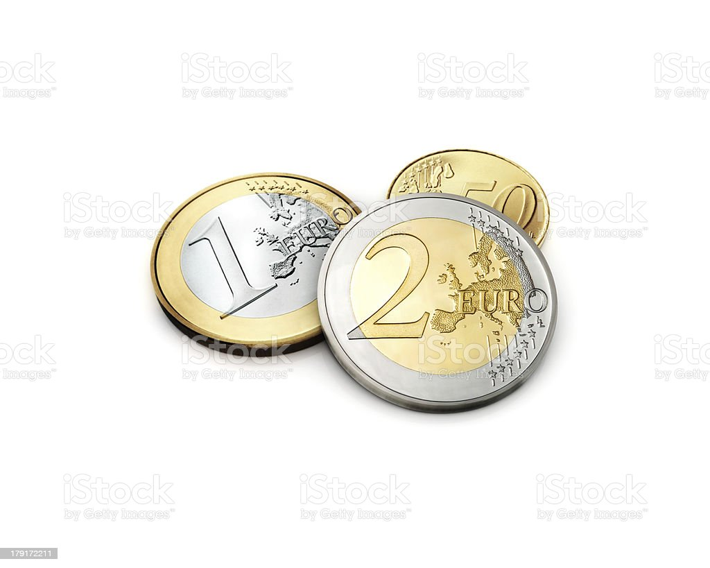 European one and two Euro with 50 cents currency Coins stock photo