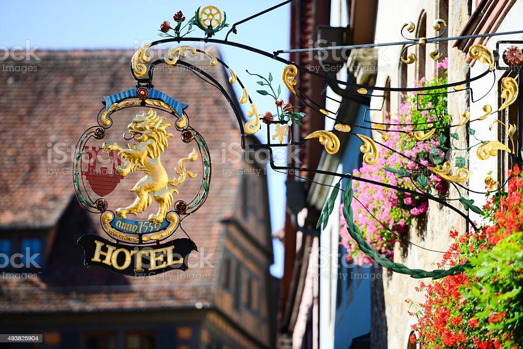 European Ornate Hotel Sign stock photo