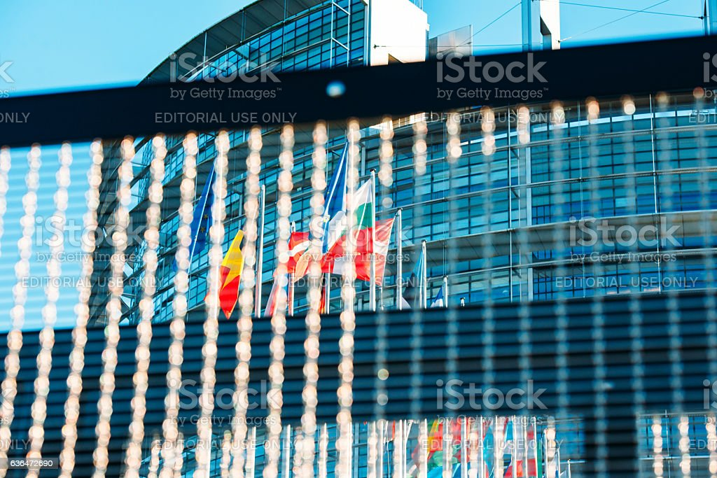European Parlaiment and all Flags of European Countries stock photo