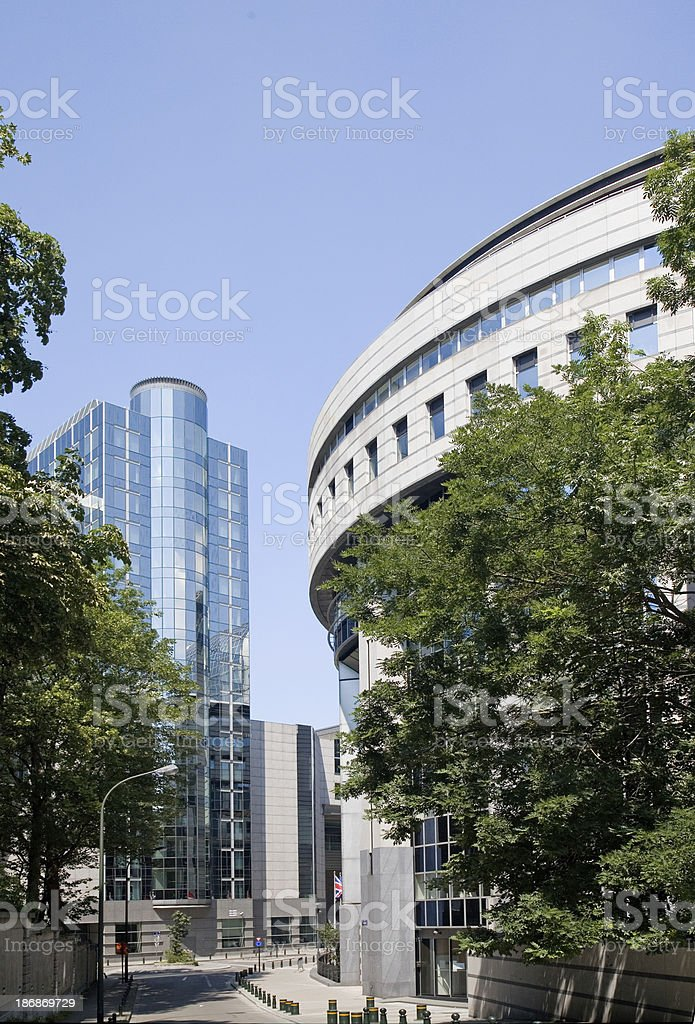 European Parliament building complex in Brussels royalty-free stock photo