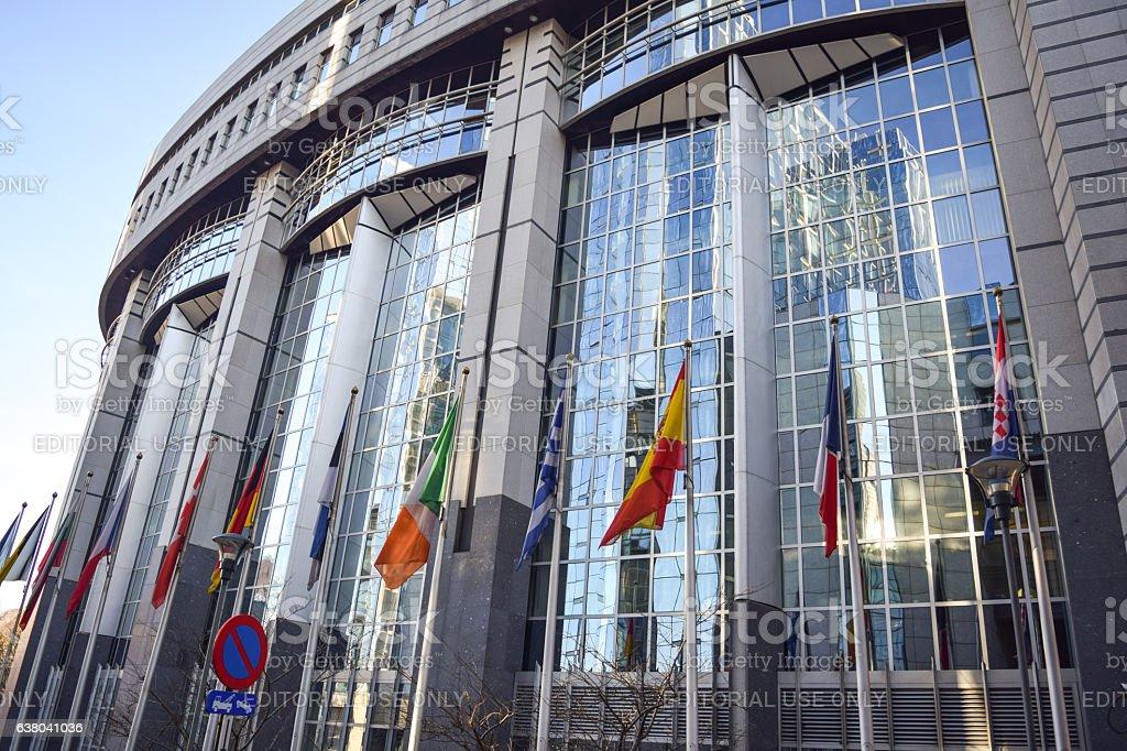 Brussels, Belgium - December 30, 2016: European Parliament building exterior stock photo