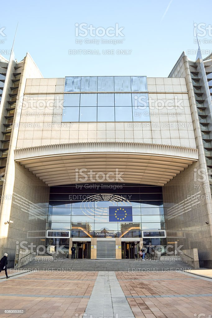 Brussels, Belgium - December 30, 2016: European Parliament building facade stock photo