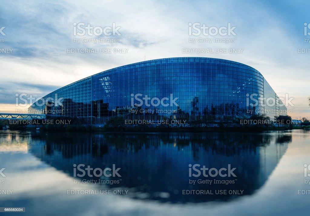 European Parliament building in Strasbourg at dusk stock photo