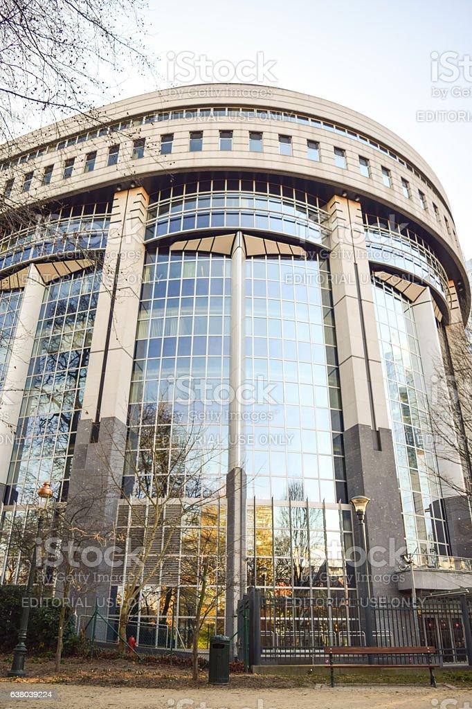 Brussels, Belgium - December 30, 2016: European Parliament building stock photo