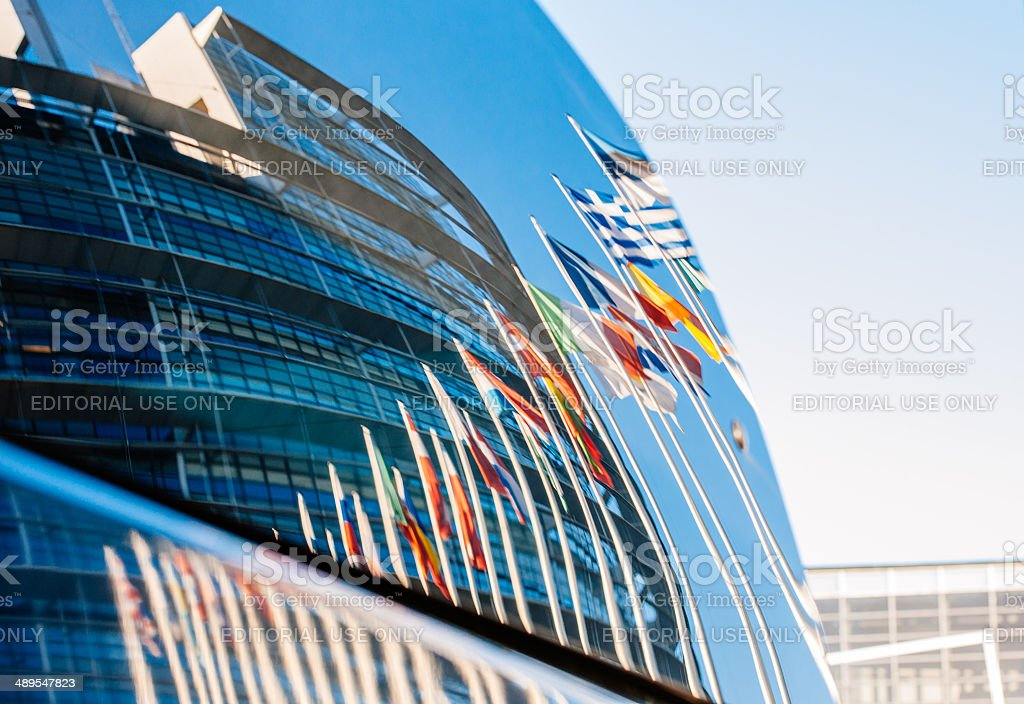 European Parliament building reflected in car windshield stock photo