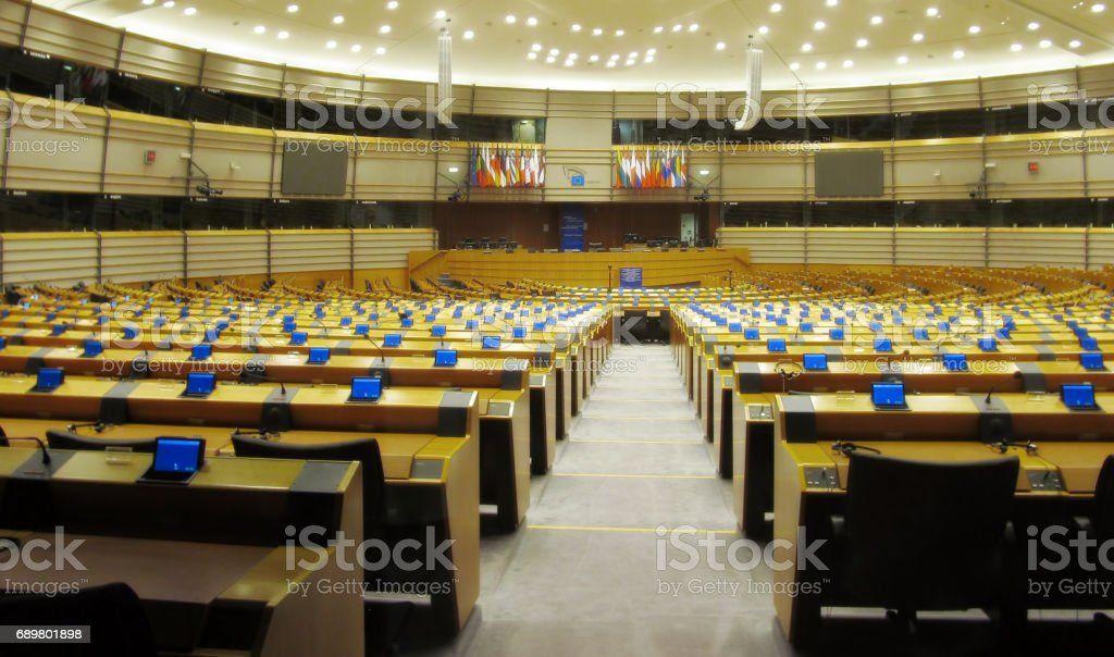 European Parliament main Conference Hall stock photo