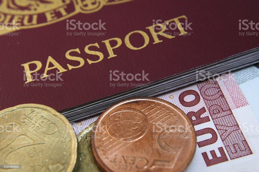 European Passport and Euro royalty-free stock photo