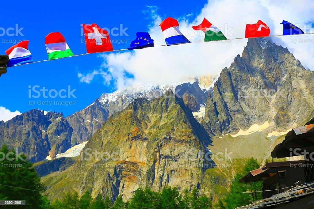 European prayer flags along tour du Mont Blanc, French Alps stock photo