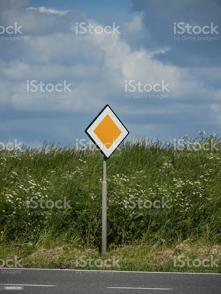 European Priority Road Sign royalty-free stock photo