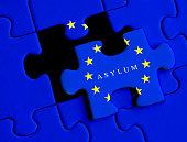 European Refugee crisis. Asylum puzzle concept with European Union flag.