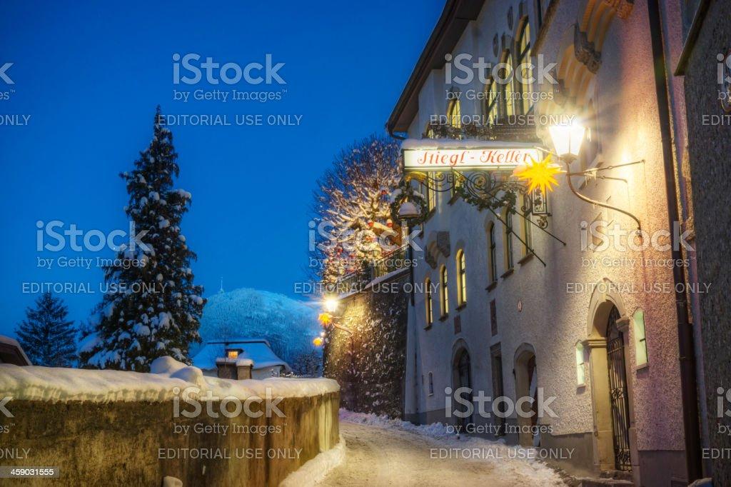 European Restaurant in Winter stock photo