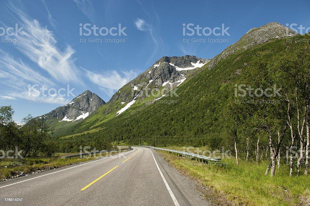 European route E10 running through Lofoten Islands stock photo