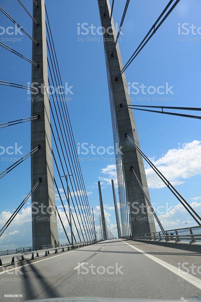 European route E20 and Oresund Bridge, Scandinavia stock photo
