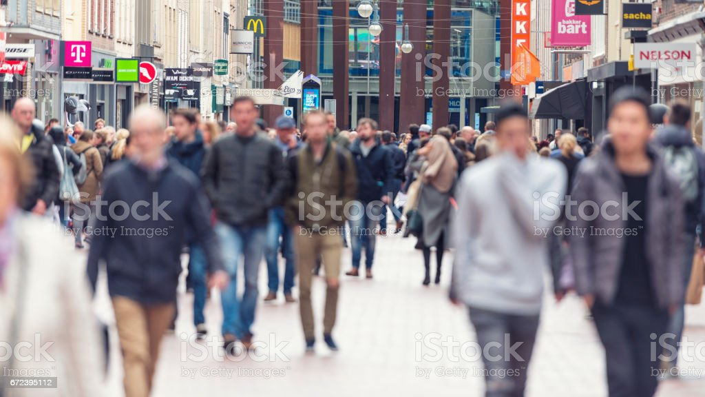 European shopping street segment stock photo