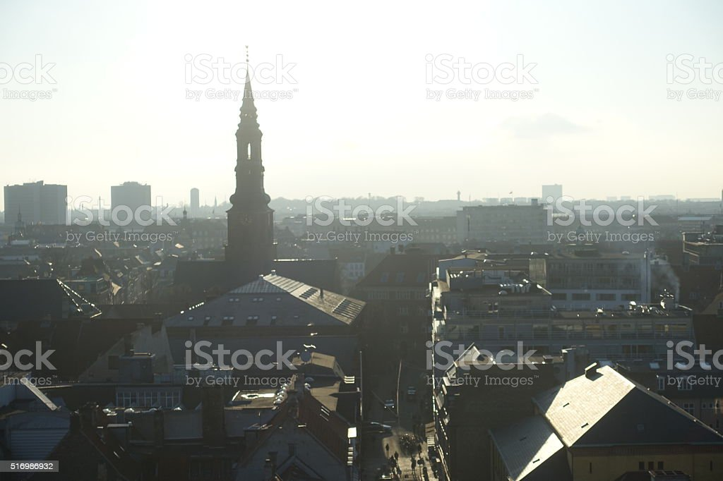 European Skyline With Towers In Copenhagen Denmark stock photo