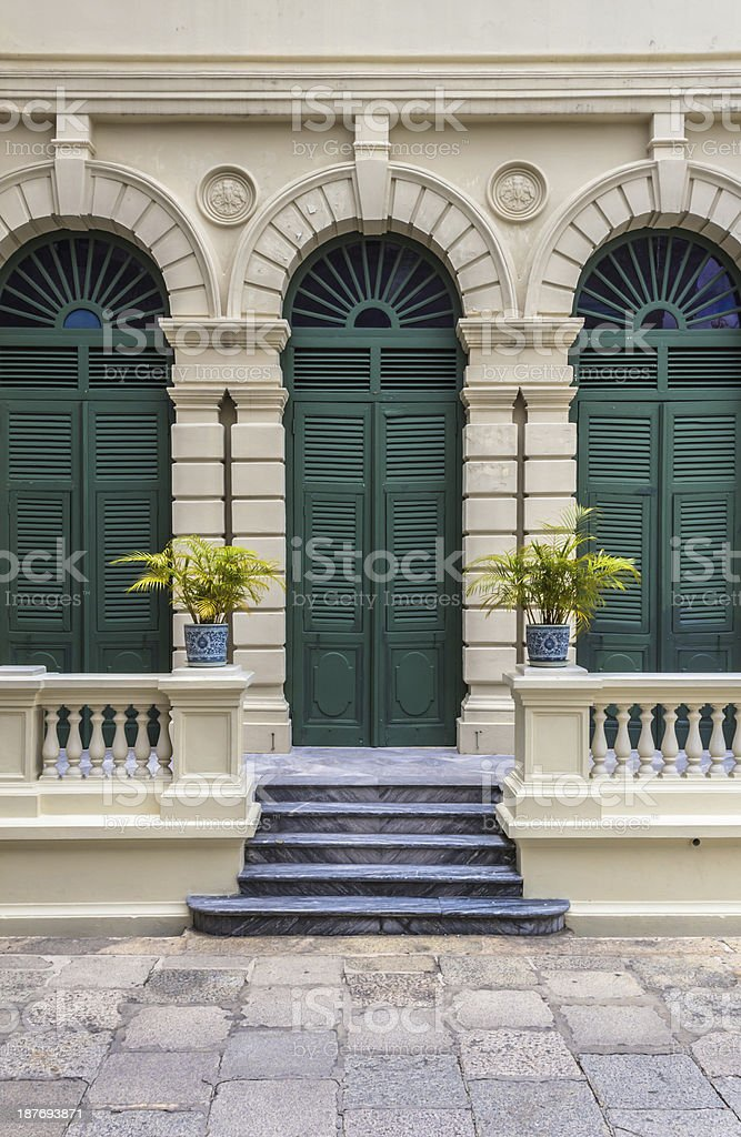 European style green door of old building, Grand palace,Thailand stock photo