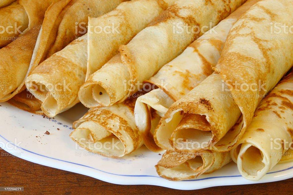 European style pancakes on a plate stock photo