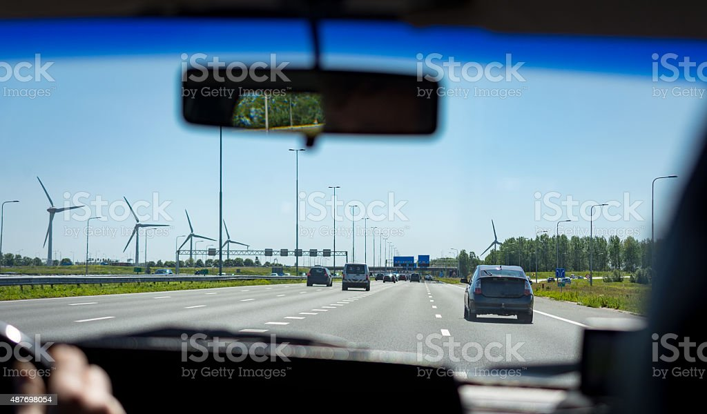 European traffic on freeway on a quiet day stock photo