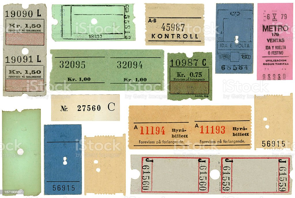 European Transportation Tickets Subway Train Blank royalty-free stock photo