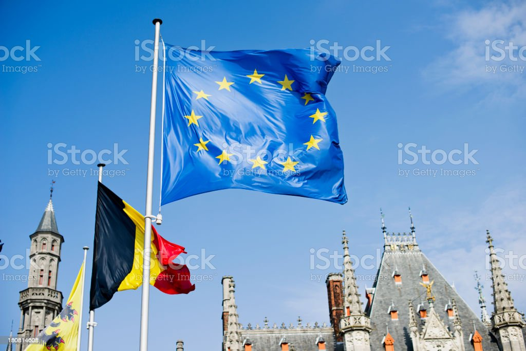European Union and Belgium State Flags royalty-free stock photo