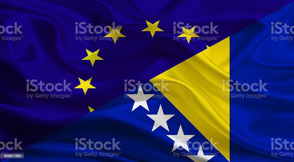 European Union and Bosnia Herzegovinan flags stock photo