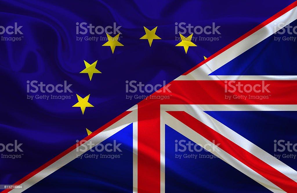 European Union and British flag stock photo