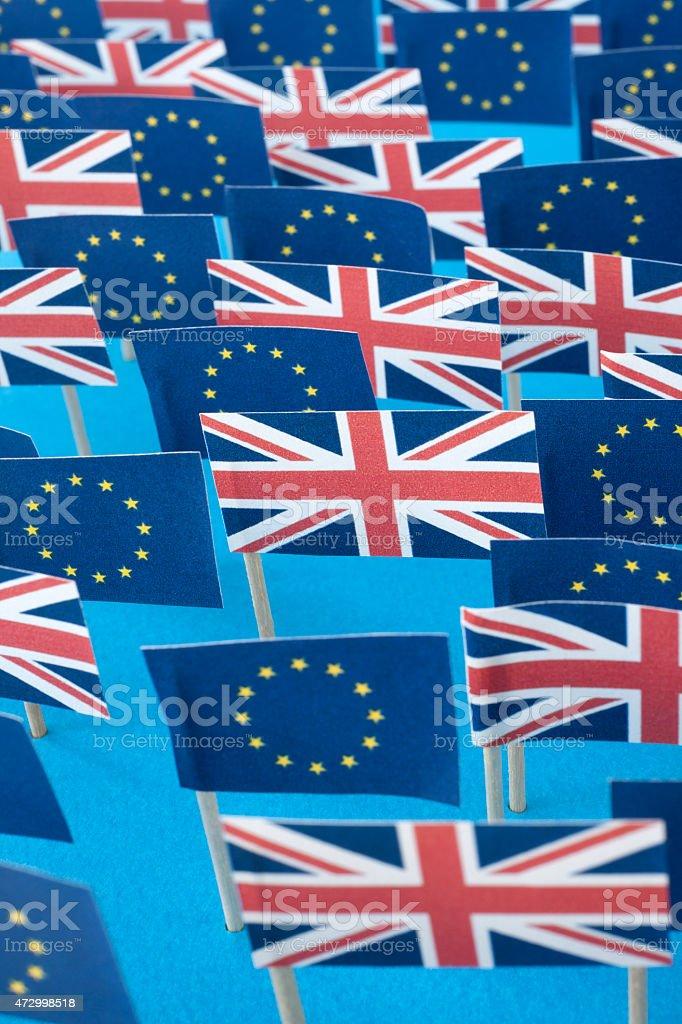 European Union and british flags stock photo