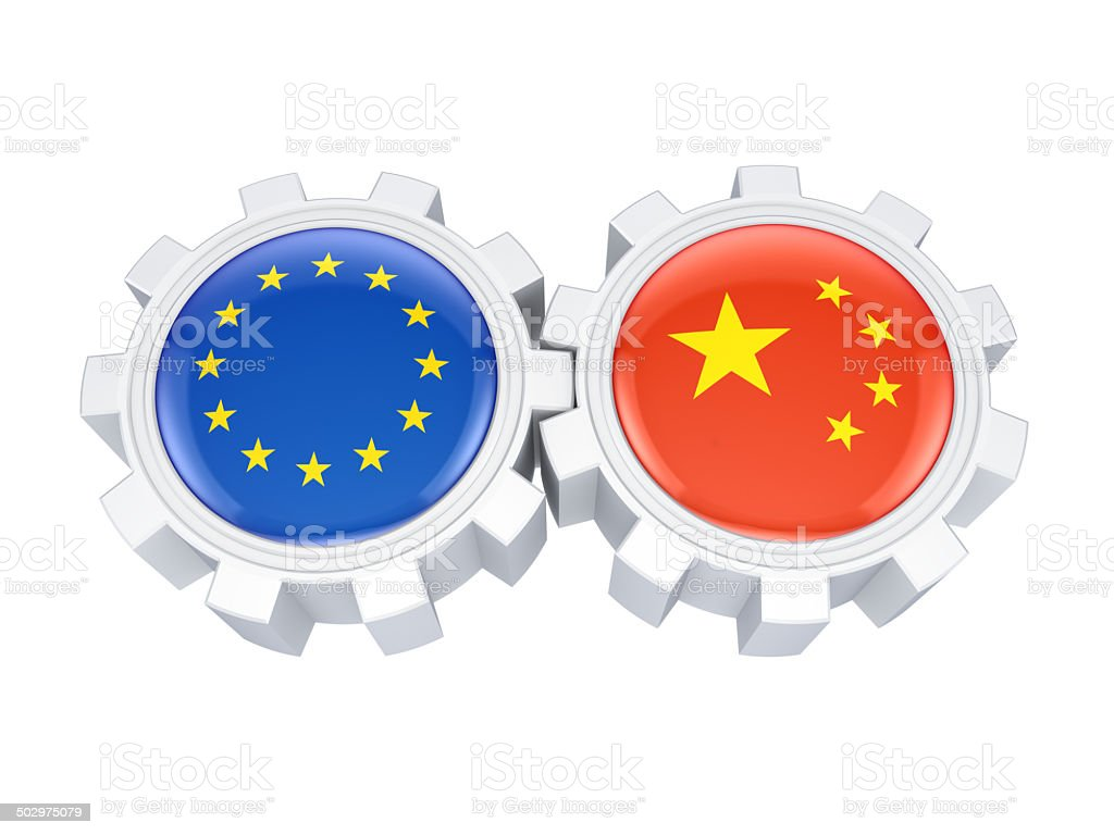 European Union and chinese flags on a gears. royalty-free stock photo