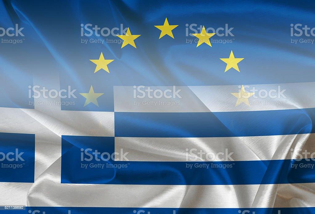 European Union and Greece - flags stock photo