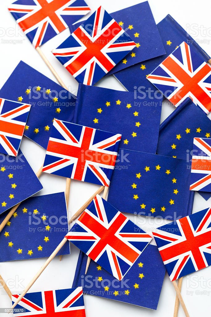 European Union and UK flags stock photo