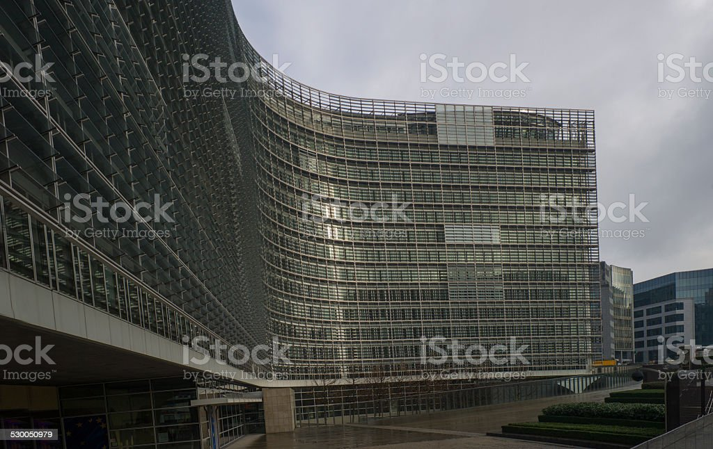 european union commision building entrance at brussel belgium stock photo