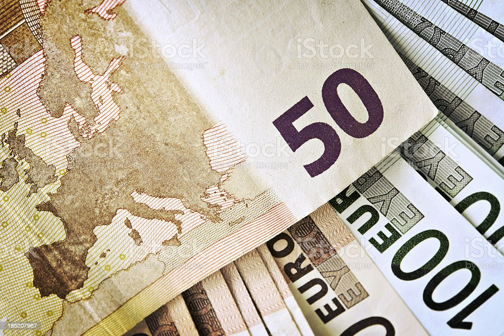 European Union Currency. Map of Europe. royalty-free stock photo