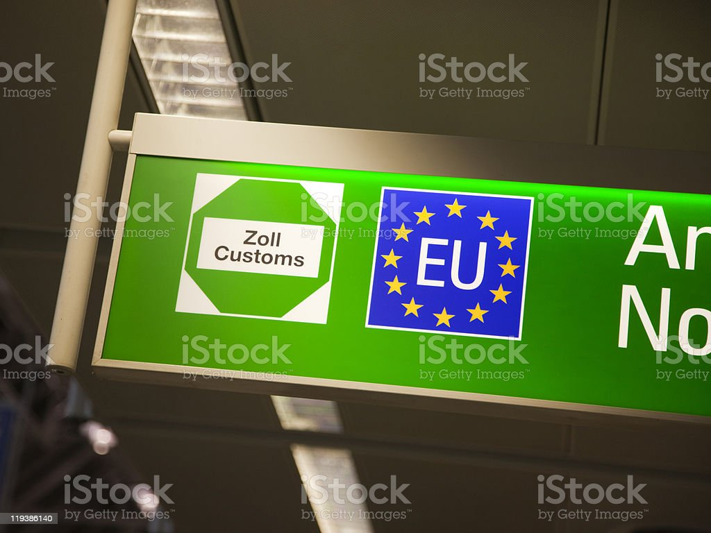 European Union customs sign royalty-free stock photo