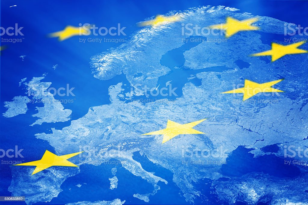 European Union flag and map stock photo