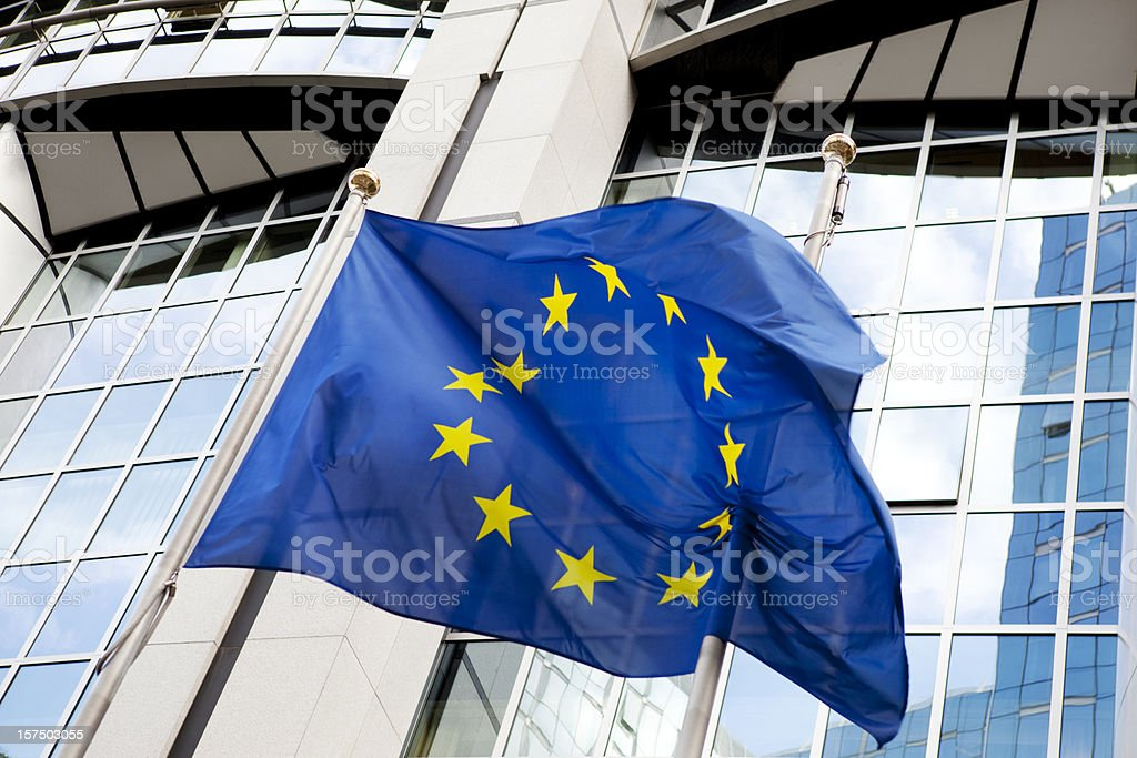 European Union Flag at Parliament Building Brussels royalty-free stock photo
