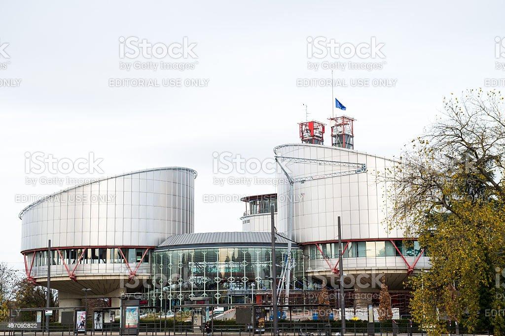 European Union Flag flies at half-mast ECHR stock photo